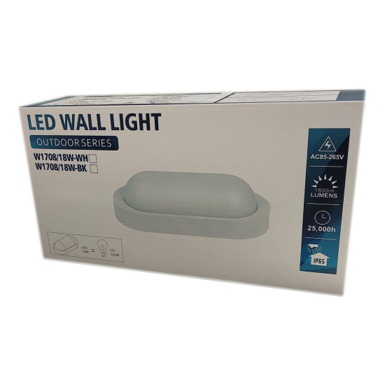 Aplica LED BAT Ovala 18W=162W, 6400K, lumina rece, cu protectie IP65