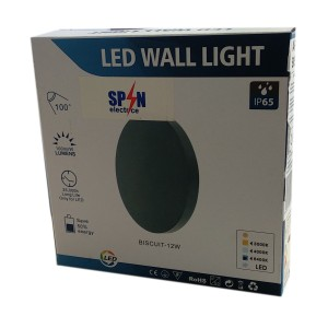 Aplica LED Perete Biscuit  fi150, 12W 3000K, lumina calda, cu protectie IP65