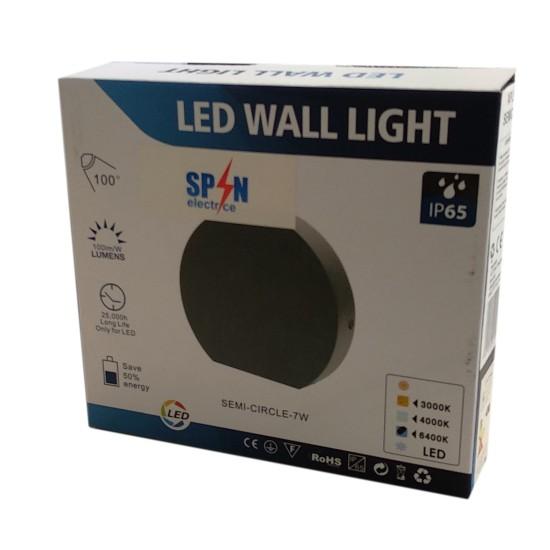 Aplica LED Perete Semicerc   fi135, 7W 3000K, lumina calda, cu protectie IP65