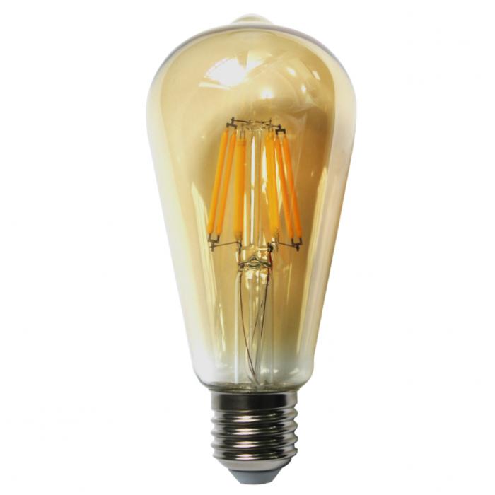 Bec LED Filament Amber E27/8W/800LM/2500K ST64