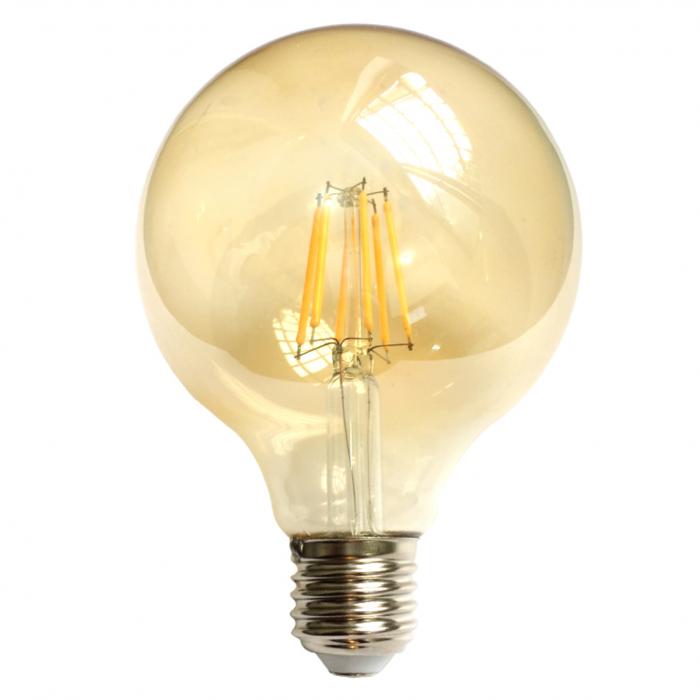 Bec LED Filament Amber E27/8W/800LM/2500K G125