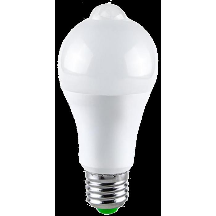Bec LED cu senzor de miscare, 9W=75W, 750Lm, 6400K, lumina rece, model A60