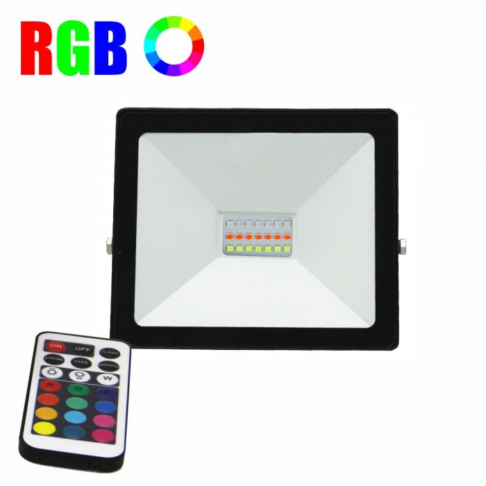 Proiector LED RGB 16 culori, 10W, IP 65, telecomanda IR inclusa