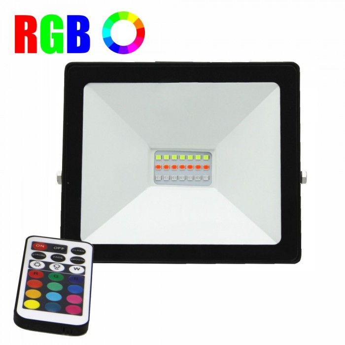 Proiector LED RGB 16 culori, 20W, IP 65, telecomanda IR inclusa