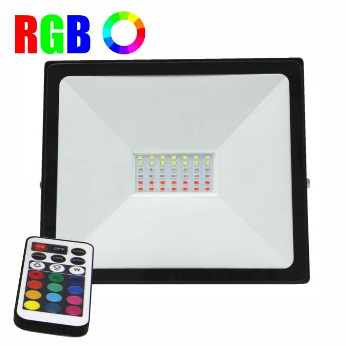 Proiector LED RGB 16 culori, 50W, IP65, telecomanda IR inclusa