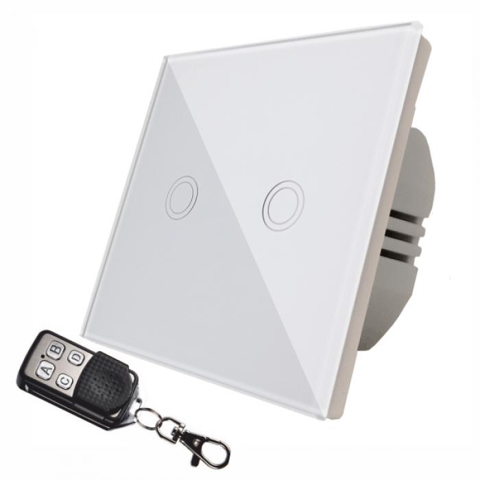 Intrerupator touch dublu + telecomanda RF, sticla securizata, alb