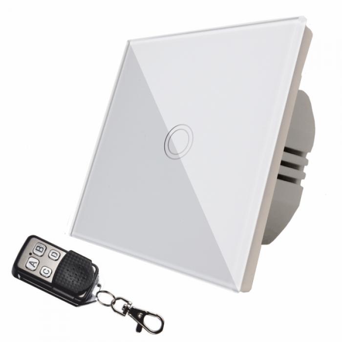 Intrerupator touch simplu + telecomanda RF, alb