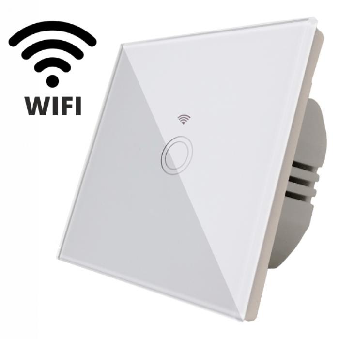 Intrerupator touch simplu WI-FI, sticla securizata, alb