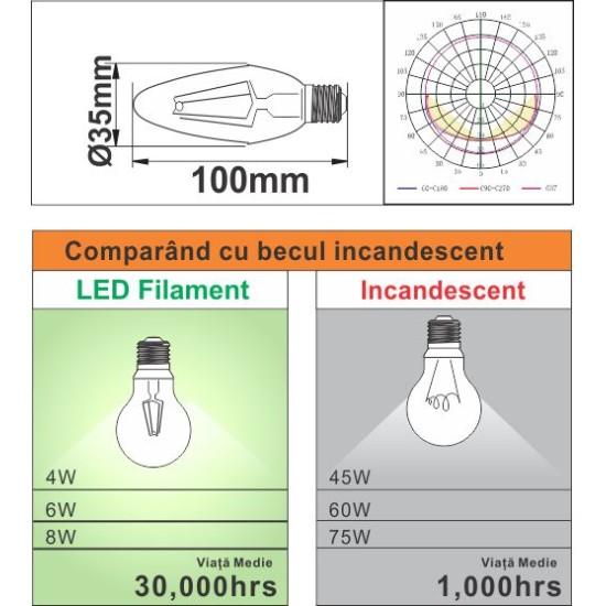 Bec Filament Lumanare E27, 4W=45W, 3000K, lumina calda, 480Lm