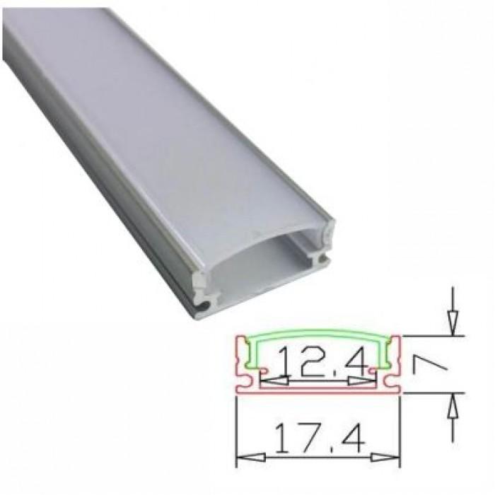 Profil banda LED usor convex, montaj aplicat, aluminiu, 1 m