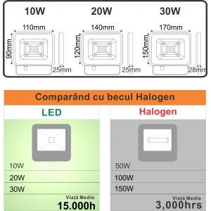 Proiector Led SMD Galaxy, 20W=100W, 6000K, lumina rece