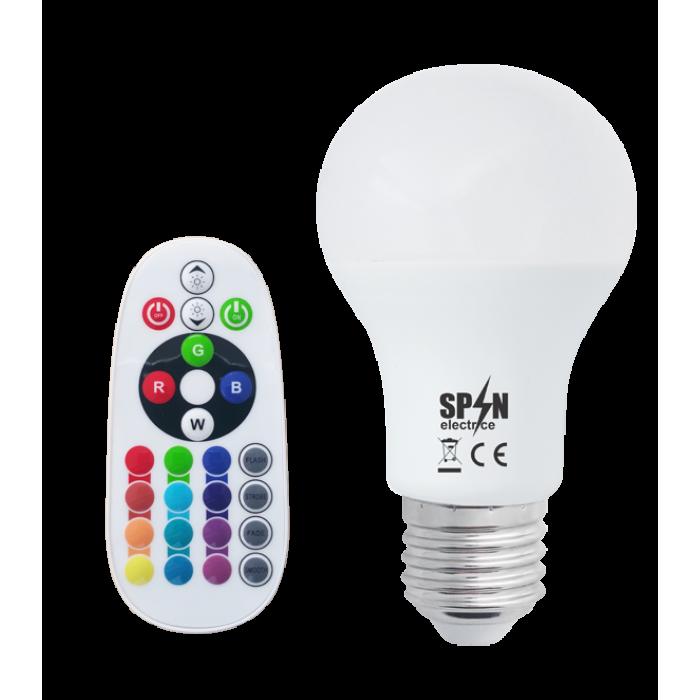 Bec Led E27, 8W=70W, Rgb+6400K, lumina rece, 850Lm  + Smart Kit Telecomanda