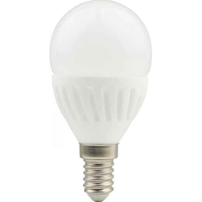 Bec LED sferic cu baza din ceramica, model G45, 9W=75W, 6400K, lumina rece, dulie E14