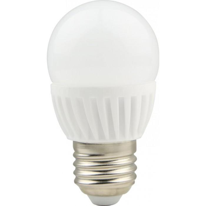 Bec LED sferic cu baza din ceramica, model G45, 9W=75W, 6400K, lumina rece, dulie E27