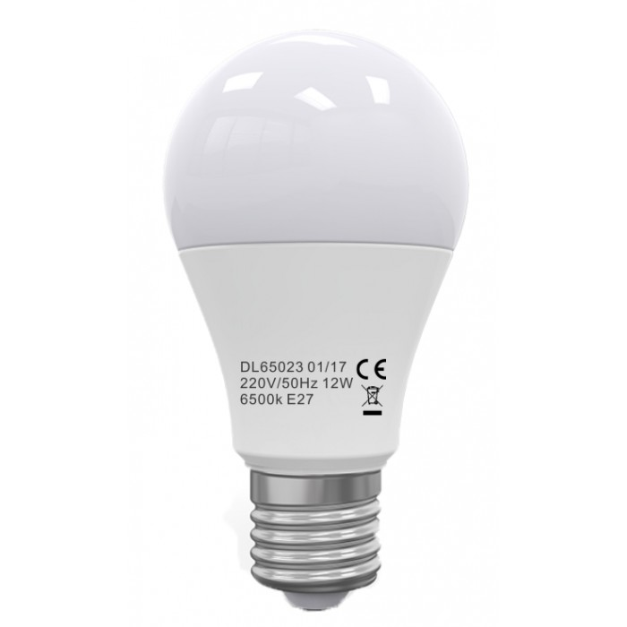 Bec Led E27, model glob A60, 12W=100W, 2700K, lumina calda, ore functionare 15.000