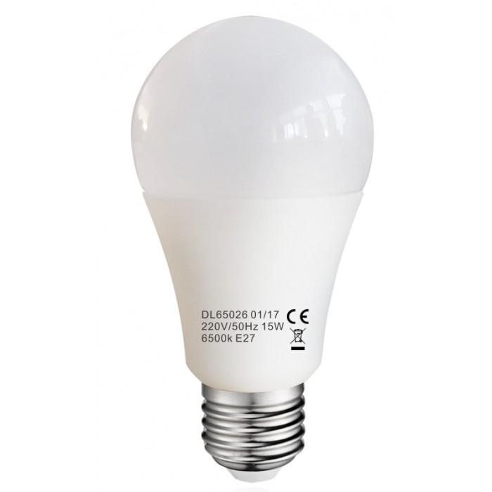 Bec Led E27, model glob A60, 15W=120W, 2700K, lumina calda, ore functionare 15.000