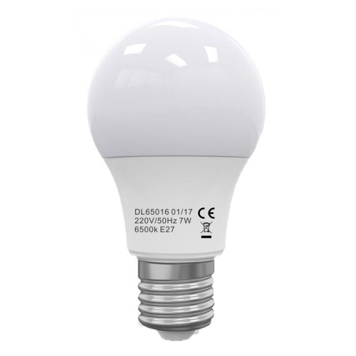 Bec Led E27, model glob A60, 7W=60W, 6400K, lumina rece, ore functionare 15.000