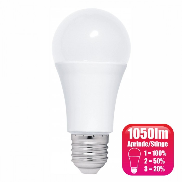 Bec LED dimabil de la intrerupator, model glob A60, 12W=100W, 6400k, lumina rece