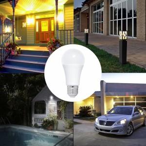 Bec LED cu senzor lumina ambientala, model glob A60, 9W=85W, 6400k, lumina rece