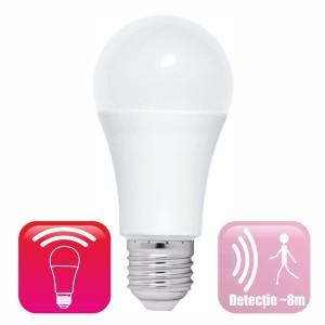 Bec LED cu senzor miscare microunde,  model glob A60, 12W=100W, 6400k, lumina rece