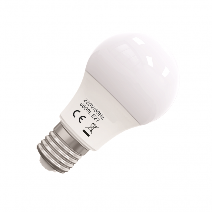 Bec Led Eco E27, model glob A55, 9W, 6400K, lumina rece