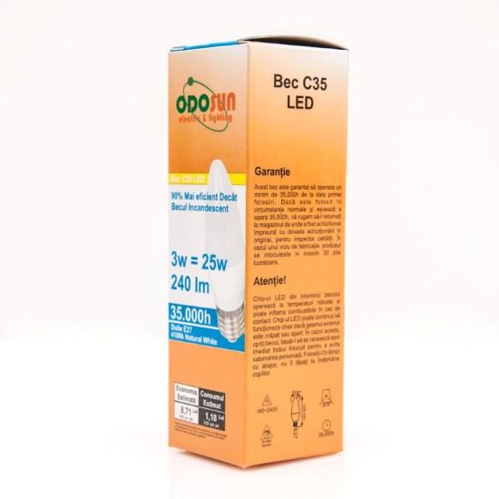 Bec Led Lumanare E27, model C35, 3W, 4100K, lumina neutra