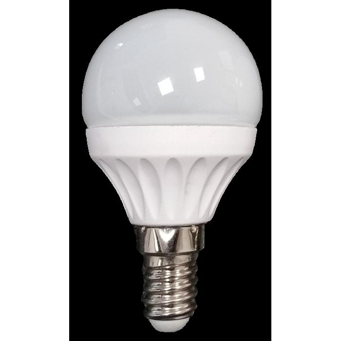 Bec Led Sferic E14, model glob G45, 3W=25W,  6400K, lumina rece