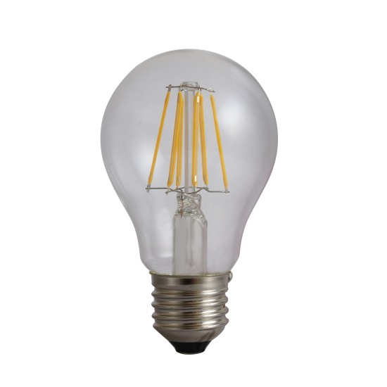 Bec Filament E27, model A60, 6W=60W, 3000K, lumina calda