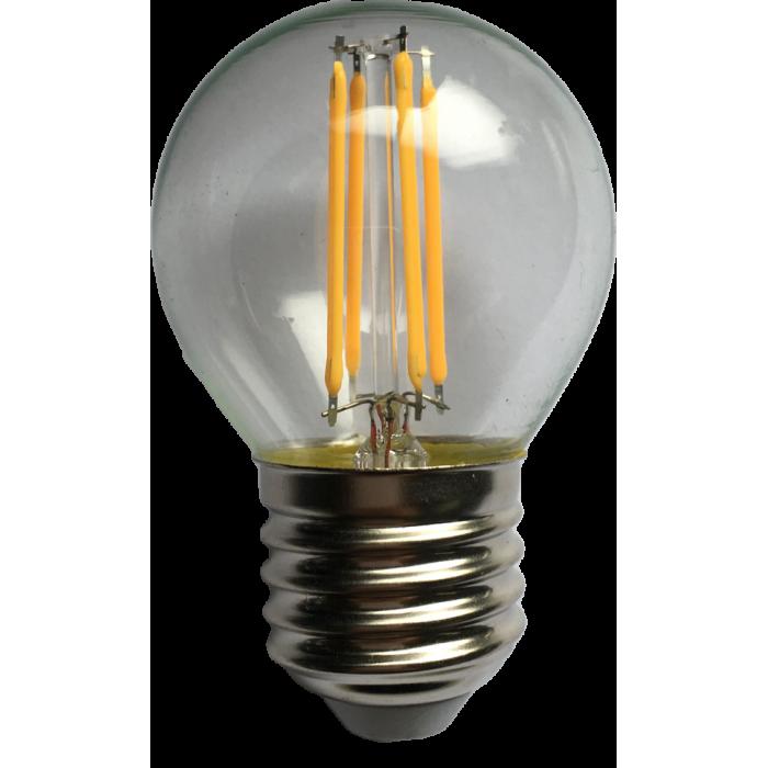 Bec Filament Sferic E27, 4W=45W, 3000K, lumina calda