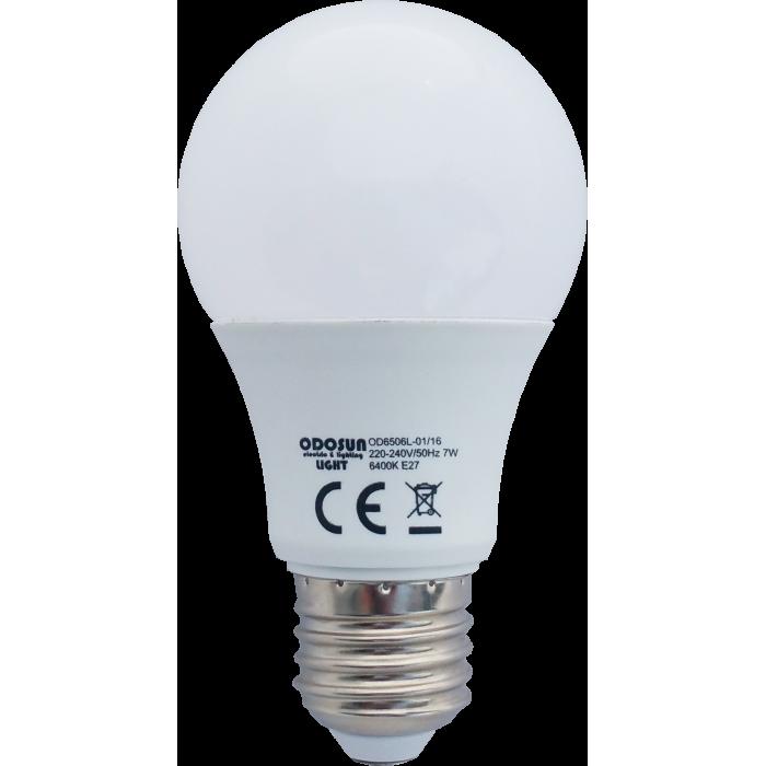 Bec Led E27, model glob A60, 7W=60W, 2700K, lumina calda
